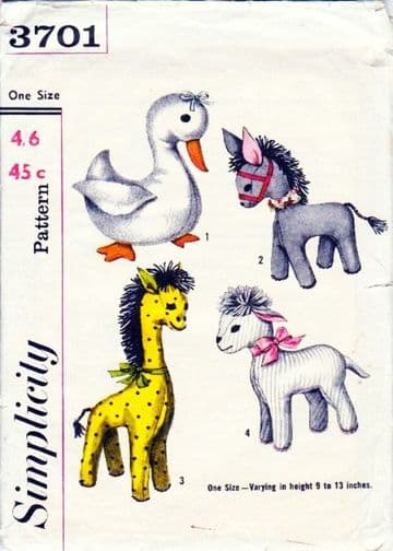 PDF Digital Simplicity 3701 Vintage Sewing Pattern Stuffed Soft Toy Animals Duck Donkey Giraffe Lamb