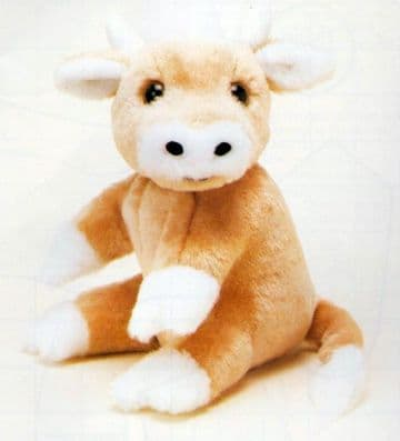 "PDF Digital Vintage Chart Sewing Pattern  A Cow approx 8""Seated Stuffed Soft Body Cloth Toy Animal"