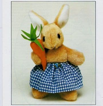 PDF Digital Vintage Chart Sewing Pattern Soft Body Toy Bunny Rabbit & Carrot