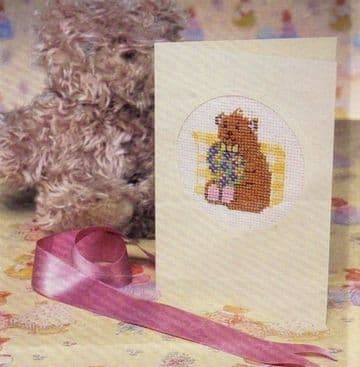 PDF Digital Vintage Cross Stitch Sewing Pattern  Teddy Bear Greetings Card ​​​​​​​Card 16 x 11 cms