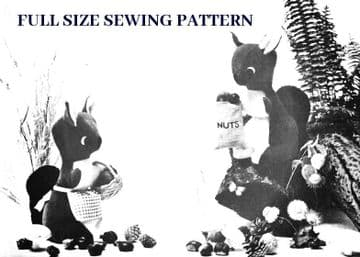 "PDF Digital Vintage FULL SIZE Sewing Pattern A Cute 18-19"" Squirrel A Stuffed Plush Soft Body Toy"