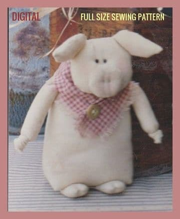 PDF Digital Vintage Full Size Sewing Pattern A Stuffed Soft Body Cloth Toy Pig or Doorstop