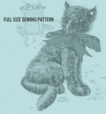 PDF Digital Vintage Full Size Sewing Pattern Stuffed Plush Soft Body Alley Cat Approx 12'' Seated