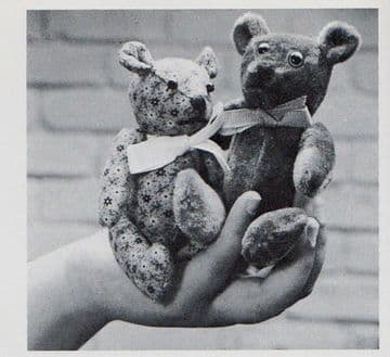 PDF Digital Vintage Full Size Sewing Pattern to make Cute Small Teddy Bear Soft Toys