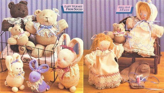 PDF DIGITAL vintage instant PDF sewing/soft sculpting pattern collection soft sock doll toys