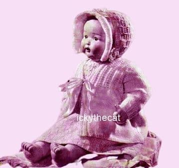 PDF Digital Vintage Knitting Pattern Both 14'' & 18'' Doll Clothes / Premature Baby