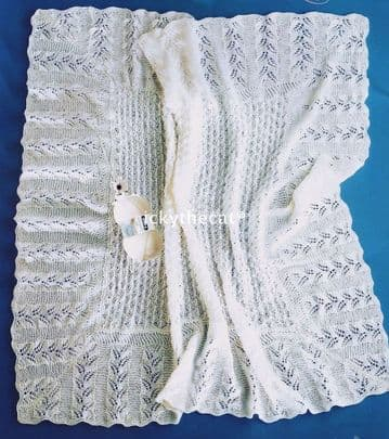 PDF Digital Vintage Knitting Pattern Square Baby Shawl Lace Fern Border 100 x 100 cm ​​​​​​​3 ply