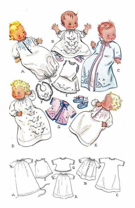 PDF Digital ​​​​​​​Vintage Sewing Pattern  ​​​​​​​773 Baby Layette Optional Embroidery Infant 1 Size