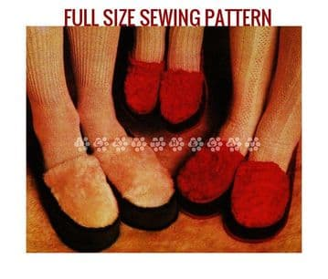 PDF Digital Vintage Sewing Pattern Adult Children's Easy Moccasin Slippers  Sheepskin and Suede