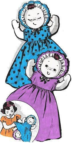 PDF Digital Vintage Sewing Pattern Freckles Topsy Turvy Soft Body Cloth Doll with Clothes