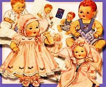 """PDF Digital Vintage Sewing Pattern Layette for a 12"""" - 14"""" Baby Doll & 12"""", 13"""", 14"""" OOAK Polymer"""