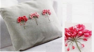PDF Digital Vintage Sewing Pattern Ribbon Flower Embroidered Cushion or Pillow