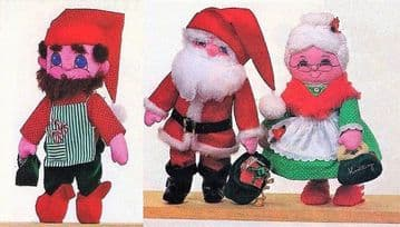 PDF Digital ​​​​​​​Vintage Sewing Pattern Soft Fabric Christmas Santa Mrs Claus and Elf Dolls