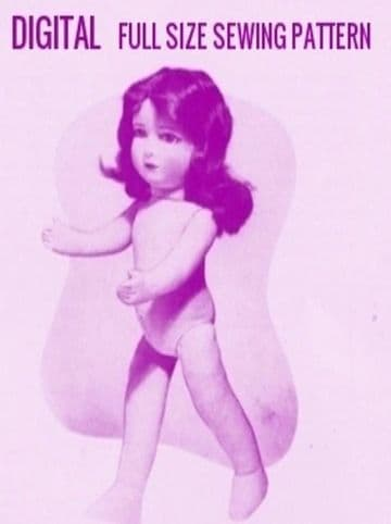PDF Digital Vintage Sewing Pattern Stuffed Soft Body Cloth Doll with Clothes ( not illustrated) 17'