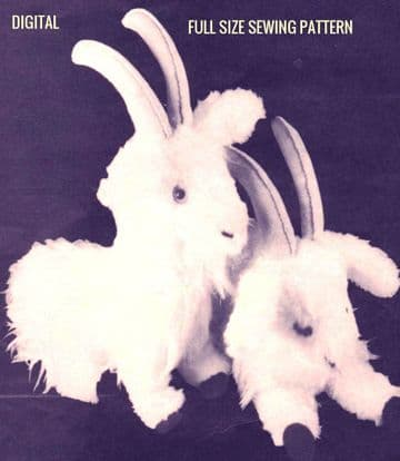 PDF Digital Vintage Sewing Pattern to make Cute Stuffed Plush Soft Body Cloth Toy Horned Goats