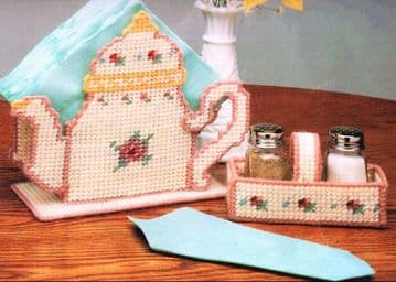 PDF Plastic Canvas Pattern Victorian Rose Teapot Napkin Holder and Salt Pepper Caddy Set