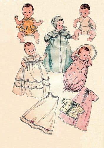 PDF Vintage 11-12'' Baby or Toddler Doll's Clothes Sewing Pattern