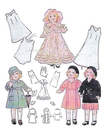 PDF Vintage Antique Doll's Clothes 18'' Shirley Temple Sewing Pattern