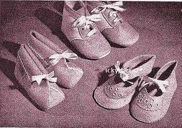 PDF Vintage Chart Sewing Pattern to make One Piece Baby Bootees Adjustable in size