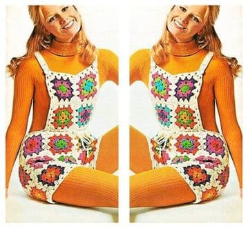 PDF Vintage Crochet Pattern to make A Ladies Granny Square Patchwork Mod Shorts with Bib Front