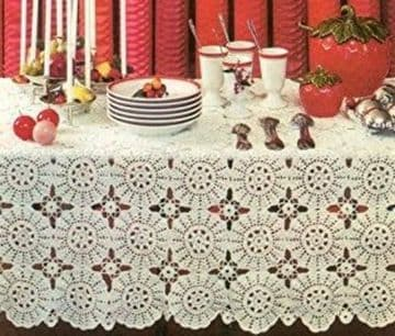 PDF Vintage Crochet Pattern to make a Tablecloth Table Cover 60x102'' Adjustable in Size