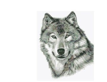 PDF Vintage Cross Stitch Sewing Pattern  A Wolf's Head