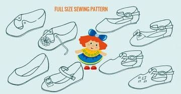 PDF Vintage Easy Sewing Pattern 8 Assorted Dolls Shoes or Sandals ( 3 Sizes for each Style)