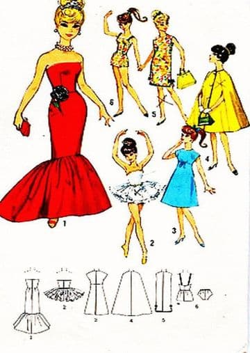 PDF Vintage Full Size Sewing Pattern A Wardrobe of clothes for Barbie Teenage Dolls
