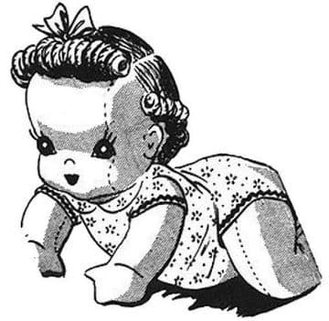 PDF Vintage Full Size Sewing Pattern Creeper Doll Crawling Baby Doll 14'' with clothes