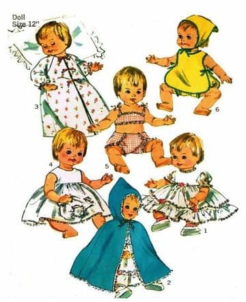 PDF Vintage Full Size Sewing Pattern Simplicity 6817 12'' Dolls Clothes for Betsy Wetsy