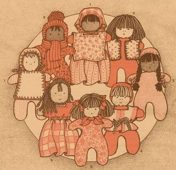PDF Vintage FULL SIZE Sewing Pattern to make a 4'' Pocket Doll with Variations Includes the Clothes