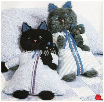 PDF Vintage FULL SIZE Sewing Pattern to make a Kitten Cat Nightdress or Pyjama Pajama Case or Toy