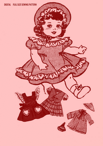 PDF Vintage FULL SIZE Sewing Pattern to make a Wardrobe of Clothes for 20'' Baby or Toddler Dolls