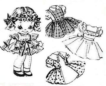 PDF Vintage Sewing Pattern 7240 a 9'' soft Body Cloth Doll with Clothes