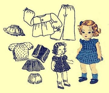 PDF Vintage Sewing Pattern Clothes 8'' Ginny Doll
