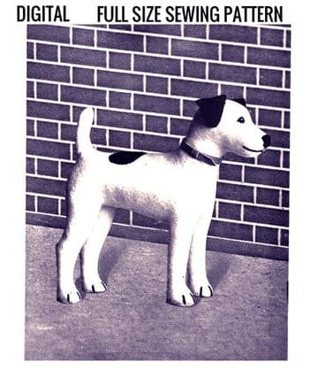 """PDF Vintage Sewing Pattern Cute 9"""" Tall Terrier A Stuffed Soft Body Toy Dog"""