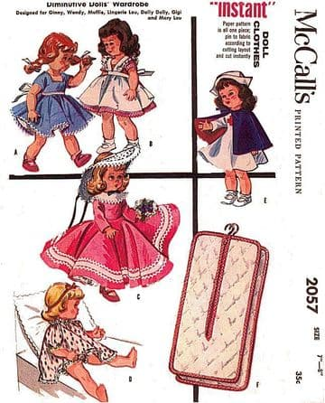 PDF Vintage Sewing Pattern McCalls 2057  Dolls Clothes for 8'' Dolls like Ginny