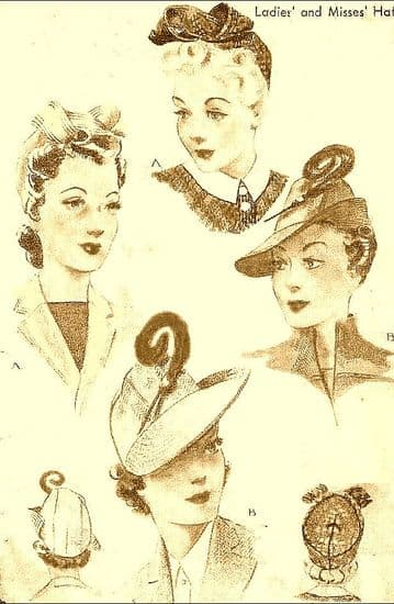 PDF Vintage Sewing Pattern McCalls 946 a Selection of Ladies Forties Hats