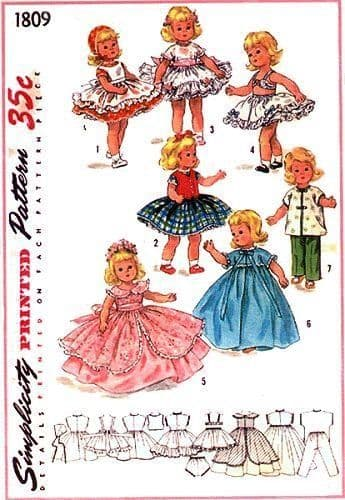 PDF Vintage Sewing Pattern simplicity 1809 Dolls Clothes for 8'' Dolls like Ginny