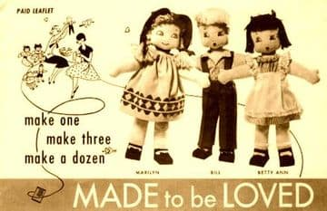 PDF Vintage Sewing Pattern to make 6 Stuffed Plush Soft Body Boy Girl Rag Dolls with Outfits