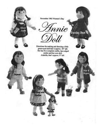 PDF Vintage Sewing Pattern to make an 18'' Doll with 5 Outfits & Her 9' Doll