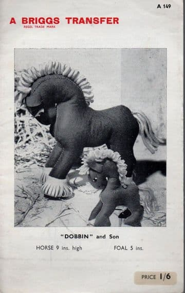 """PDF Vintage Sewing Pattern to make Dobbin and Son A Heavy Horse 9"""" High and a Foal 5"""" High Stuffed"""