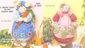 Sewing Pattern Mrs Bunny Kitty Cat Kitchen Bag Holders Catchers PDF