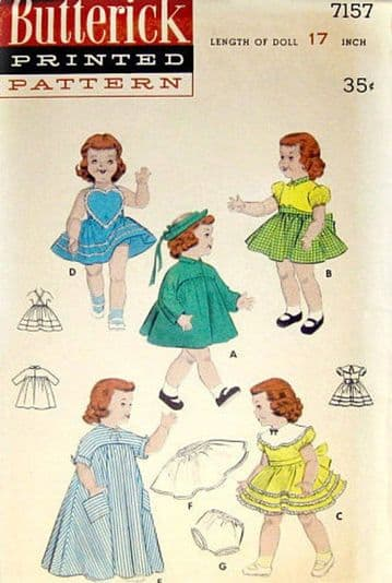 """Vintage Baby or Toddler 14"""" Doll Clothes Sewing Pattern 7157"""