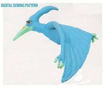 Vintage  Chart Sewing Pattern  a Flying Dinosaur Pteranodon  Stuffed Plush Soft Body Toy Animal