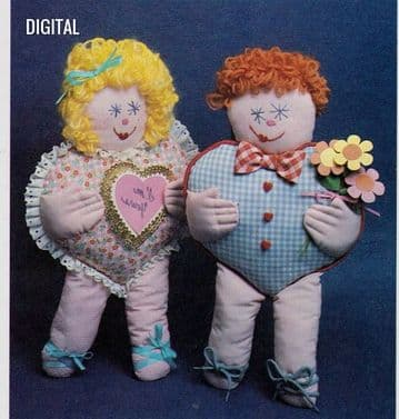 Vintage Chart Sewing Pattern  Boy and Girl Heart Pillow Cushion Dolls 17'' Soft Body Cloth Toys