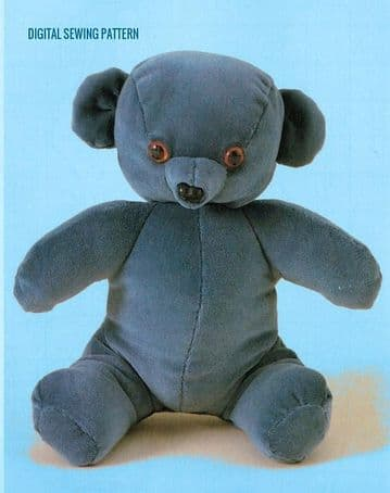 Vintage Chart Sewing Pattern t a Velvet Teddy Bear Stuffed Plush Soft Body Toy  14'' approx
