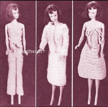 "Vintage Crochet Pattern to make 3 Outfits for 12"" Teenage Dolls Strapless Jumpsuit Halter Neck Dres"