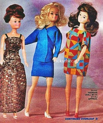 "Vintage Dolls Clothes Sewing Pattern PDF  6 Outfits  11"" Teenage or Fashion Dolls like Barbie"