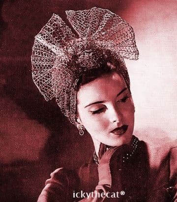Vintage Forties Crochet Pattern Ladies Mesh Turban Hat with Show Bow